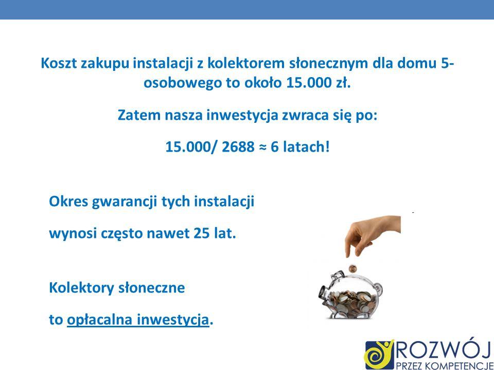 Koszt zakupu instalacji z kolektorem słonecznym dla domu 5- osobowego to około 15.000 zł.