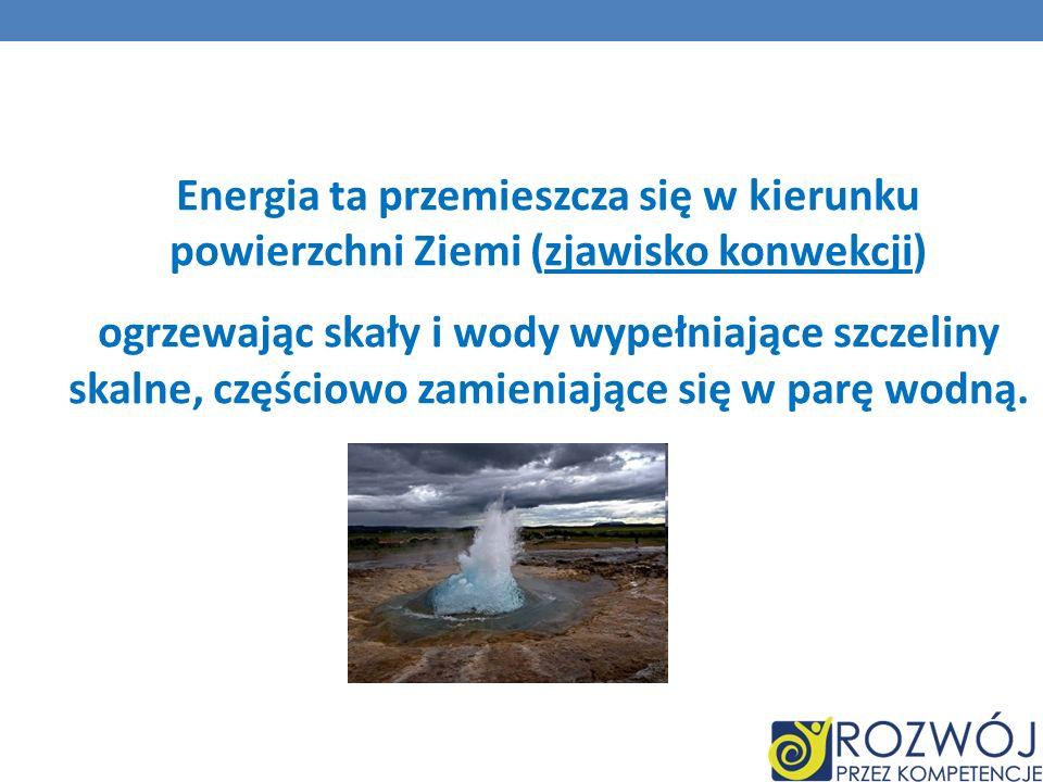 Energia ta przemieszcza się w kierunku powierzchni Ziemi (zjawisko konwekcji) ogrzewając skały i wody wypełniające szczeliny skalne, częściowo zamieniające się w parę wodną.