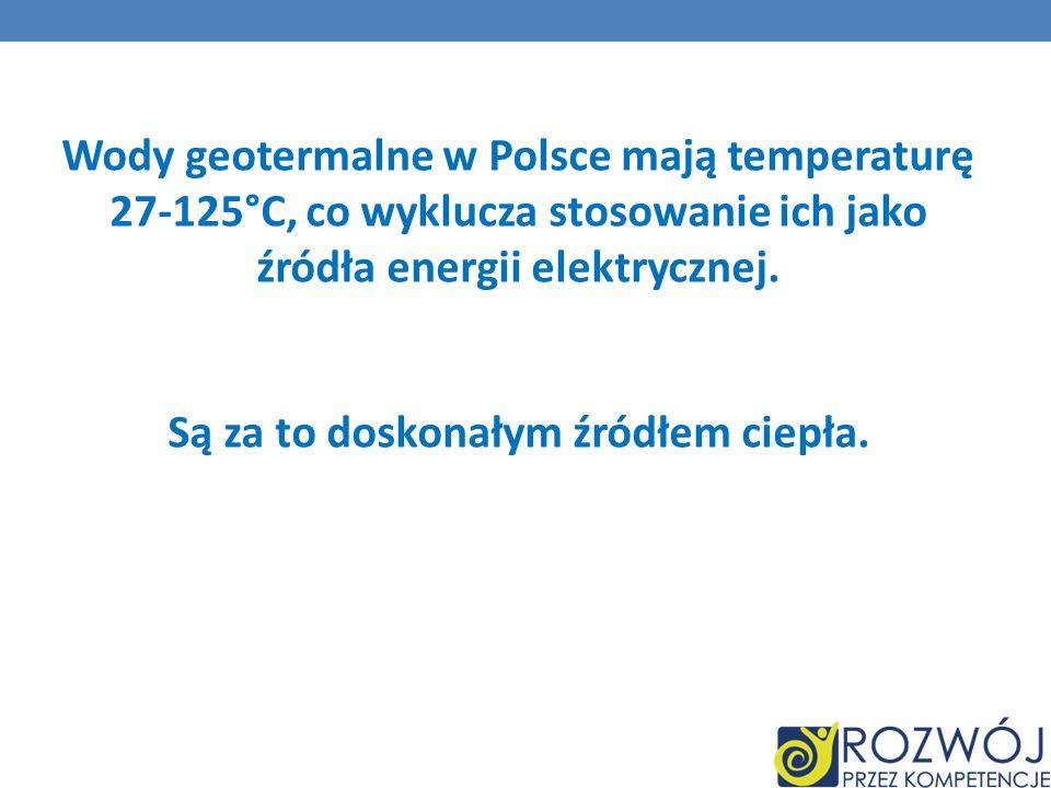 Wody geotermalne w Polsce mają temperaturę 27-125°C, co wyklucza stosowanie ich jako źródła energii elektrycznej.