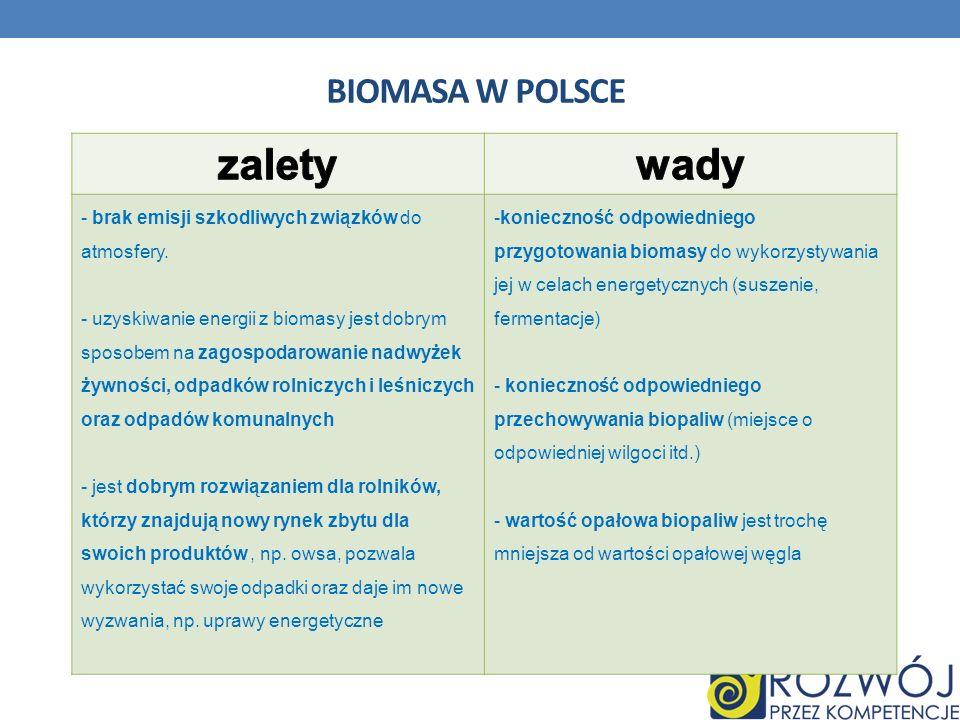 zalety wady Biomasa w Polsce