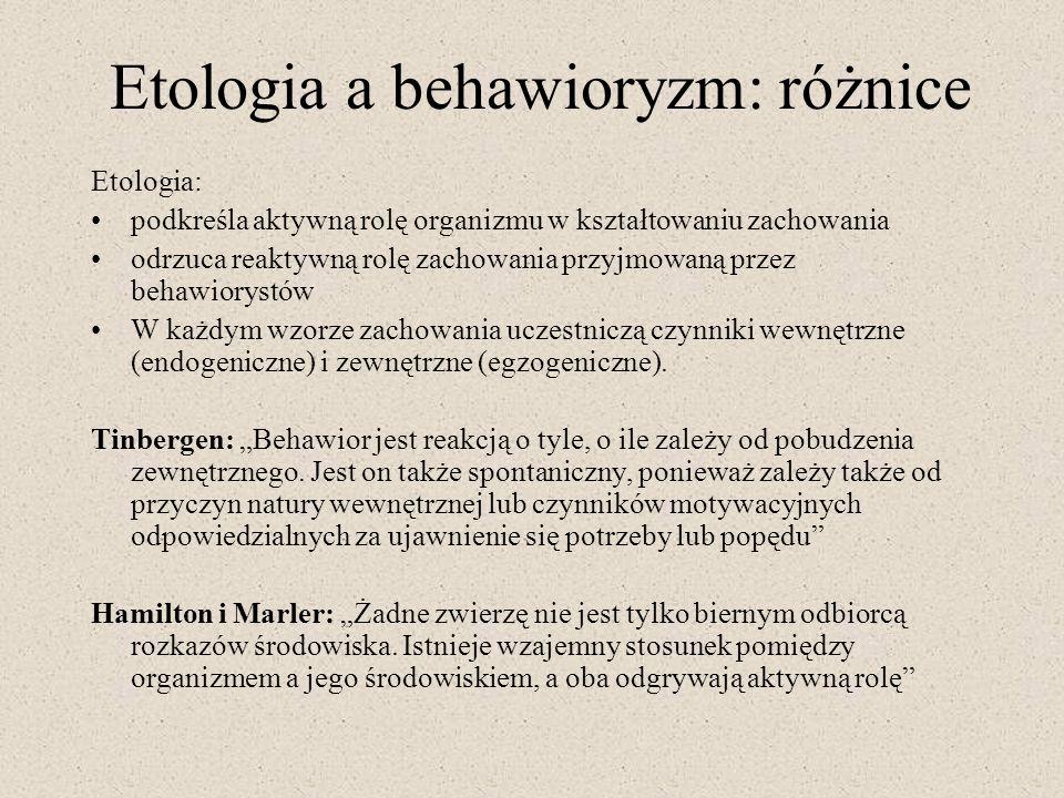 Etologia a behawioryzm: różnice