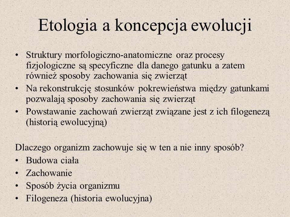 Etologia a koncepcja ewolucji
