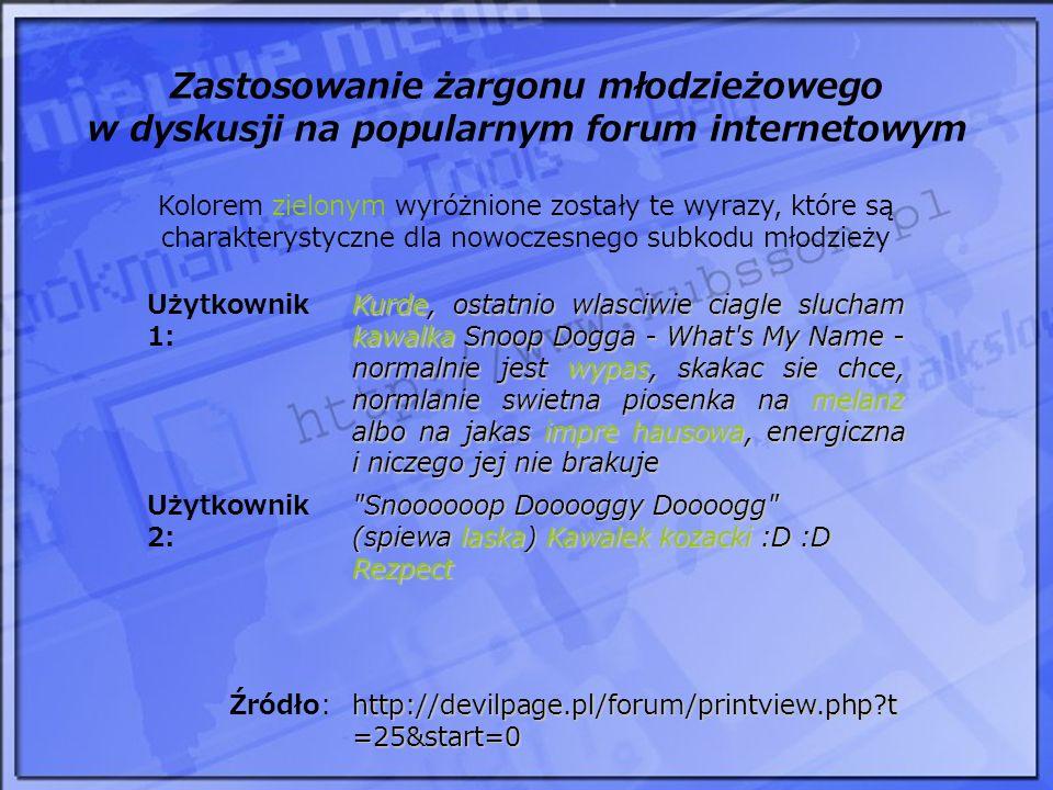 Zastosowanie żargonu młodzieżowego w dyskusji na popularnym forum internetowym