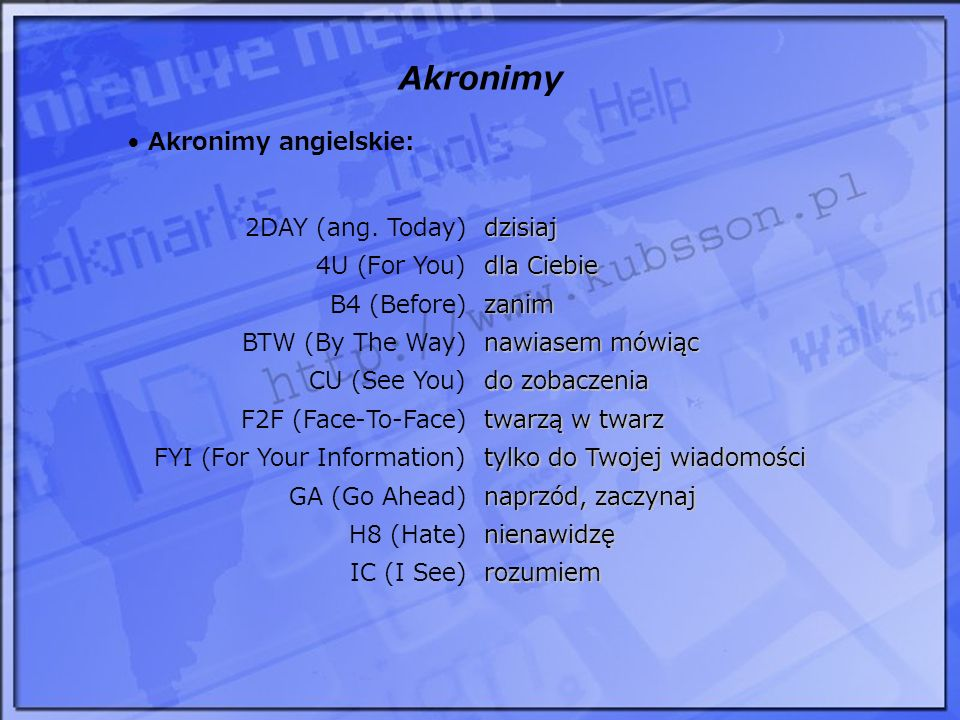 Akronimy Akronimy angielskie: 2DAY (ang. Today) dzisiaj 4U (For You)