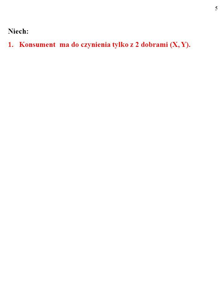 Niech: Konsument ma do czynienia tylko z 2 dobrami (X, Y).