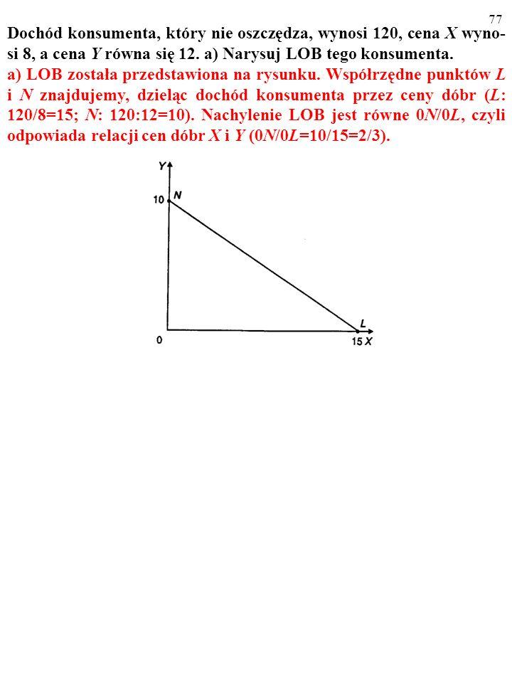 Dochód konsumenta, który nie oszczędza, wynosi 120, cena X wyno-si 8, a cena Y równa się 12. a) Narysuj LOB tego konsumenta.