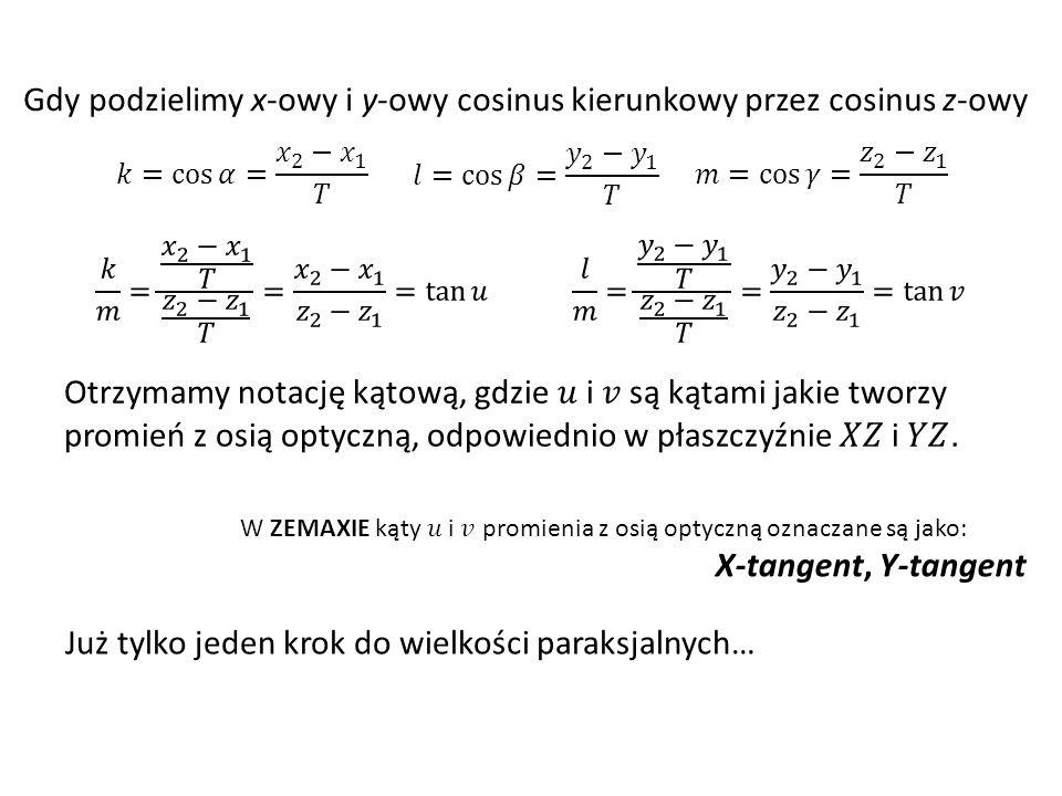 Gdy podzielimy x-owy i y-owy cosinus kierunkowy przez cosinus z-owy