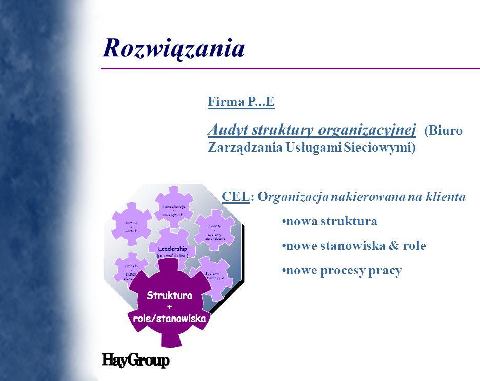 Rozwiązania Firma P...E. Audyt struktury organizacyjnej (Biuro Zarządzania Usługami Sieciowymi) CEL: Organizacja nakierowana na klienta.