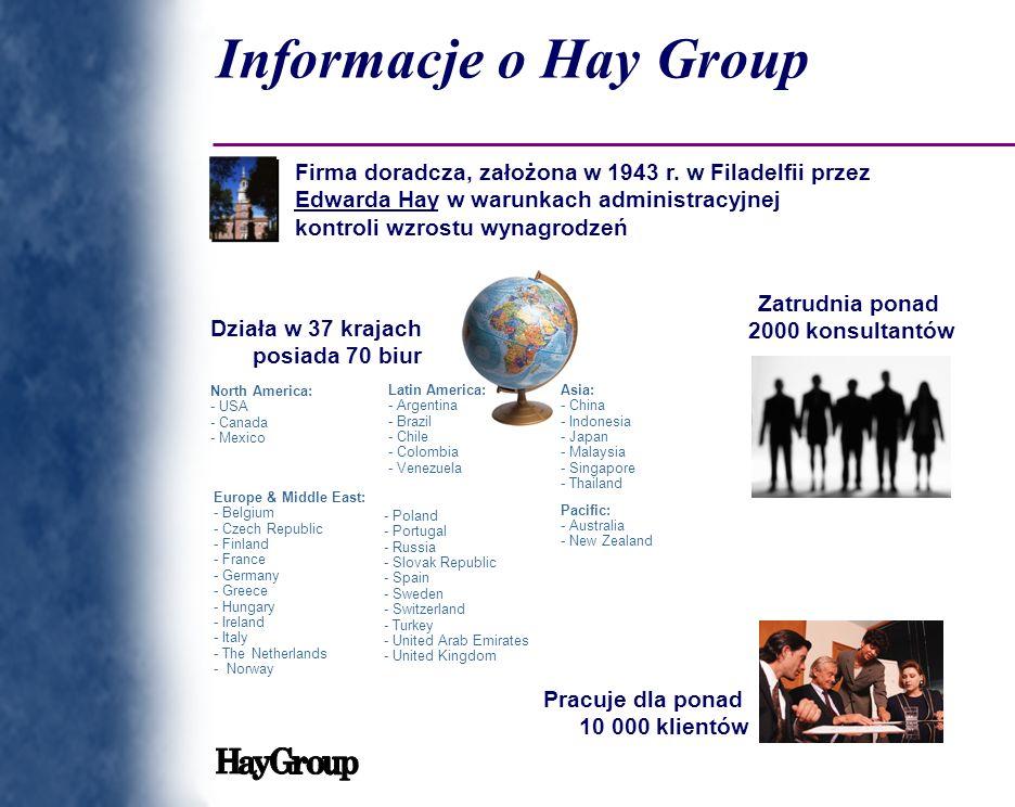 Informacje o Hay Group Firma doradcza, założona w 1943 r. w Filadelfii przez Edwarda Hay w warunkach administracyjnej.