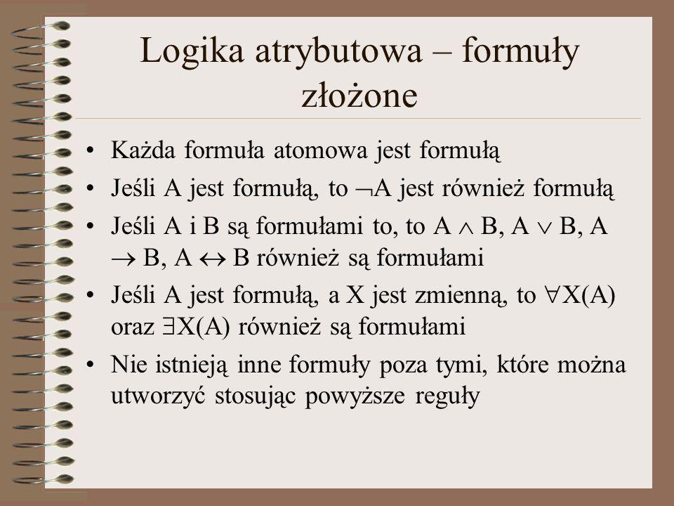 Logika atrybutowa – formuły złożone