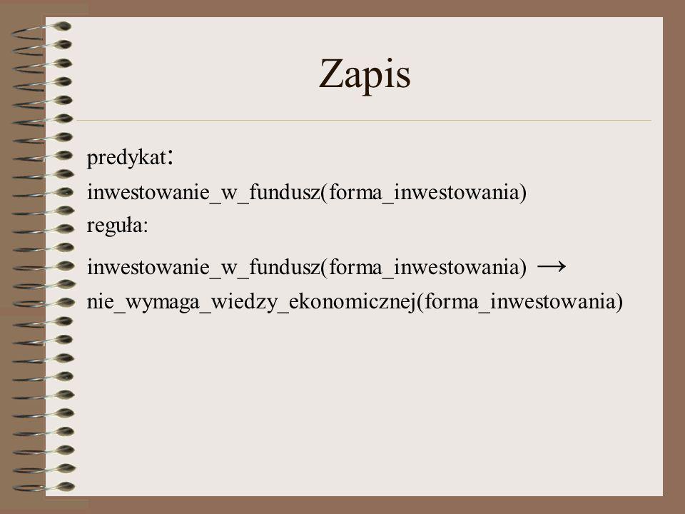 Zapis predykat: inwestowanie_w_fundusz(forma_inwestowania) reguła: