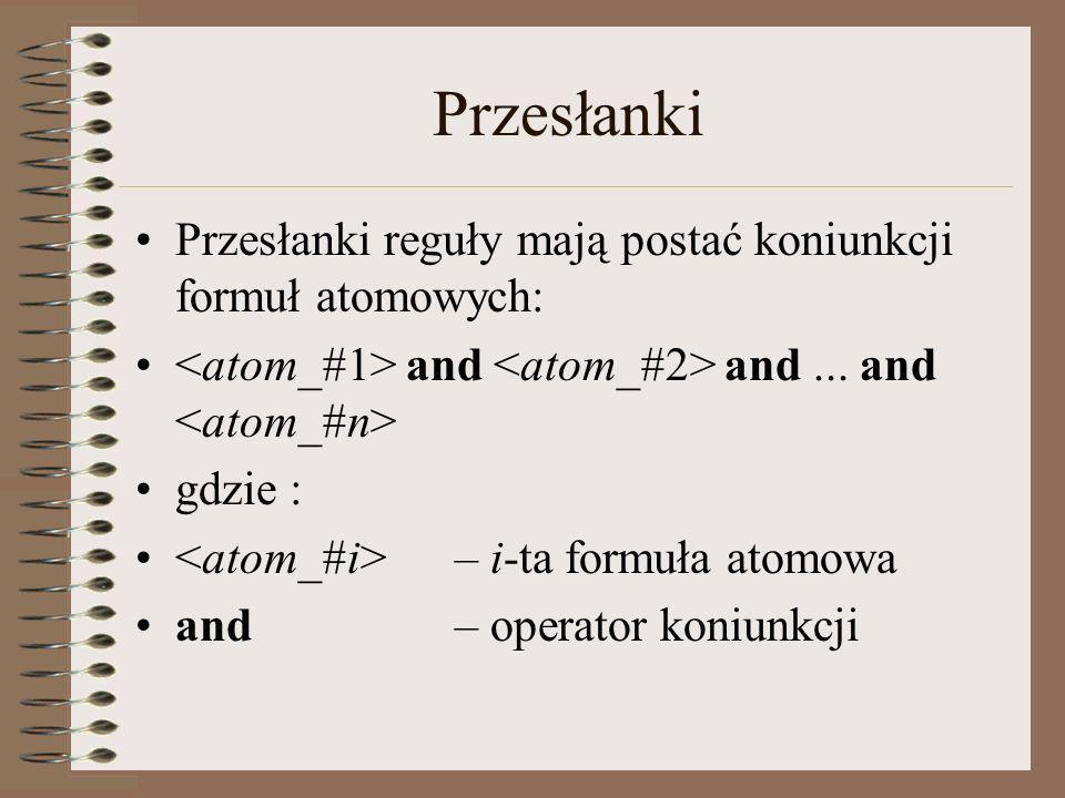 Przesłanki Przesłanki reguły mają postać koniunkcji formuł atomowych: