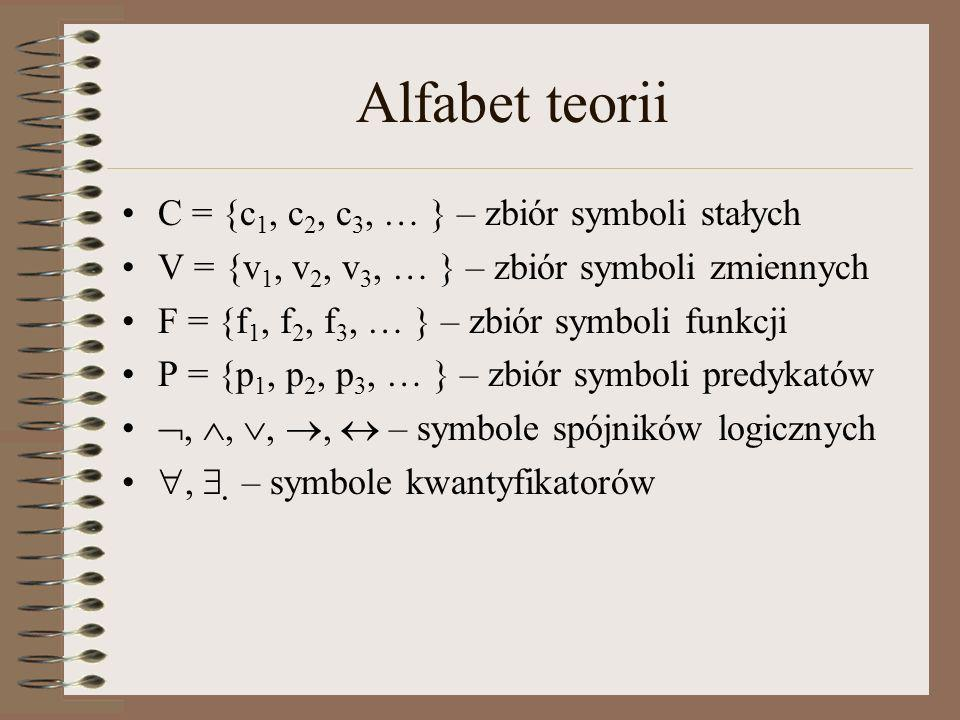 Alfabet teorii C = {c1, c2, c3, … } – zbiór symboli stałych