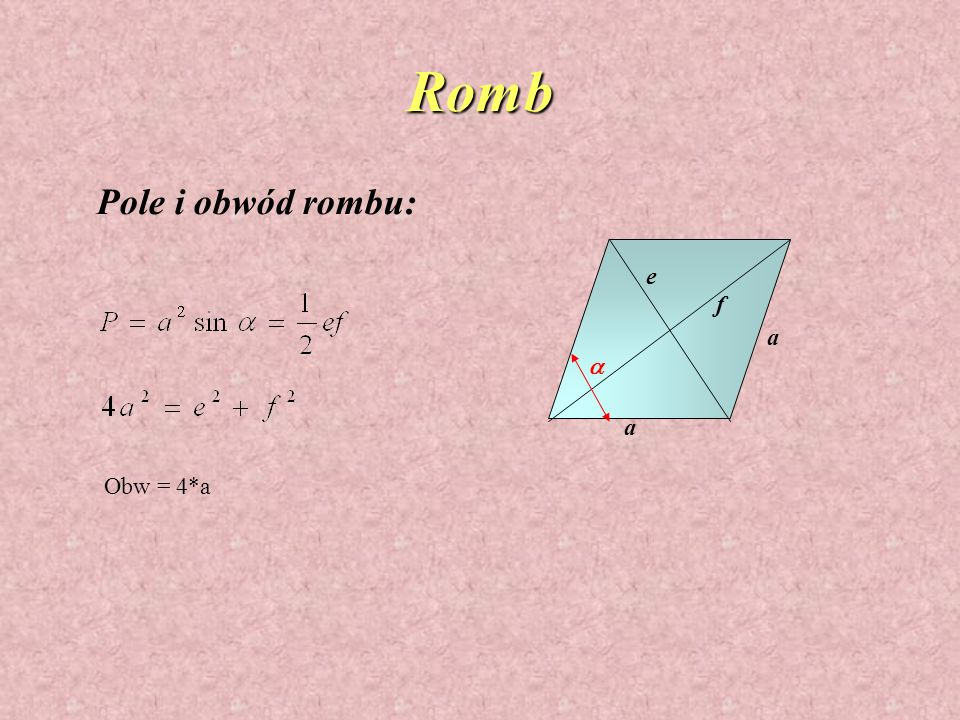 Romb Pole i obwód rombu: e f a a a Obw = 4*a