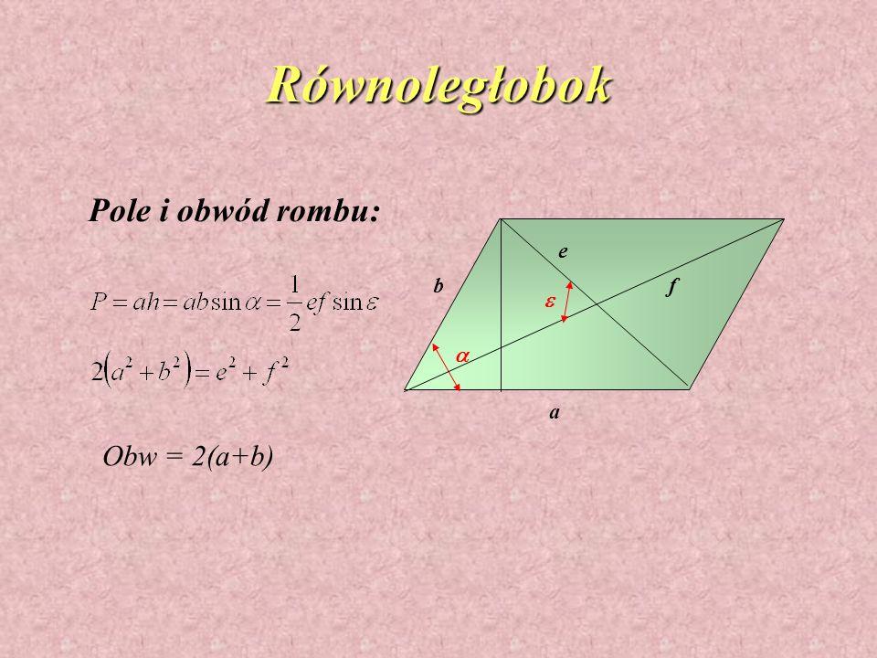 Równoległobok Pole i obwód rombu: e b f e a a Obw = 2(a+b)
