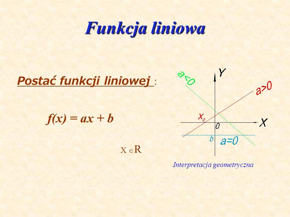 Funkcja liniowa f(x) = ax + b Postać funkcji liniowej : X R