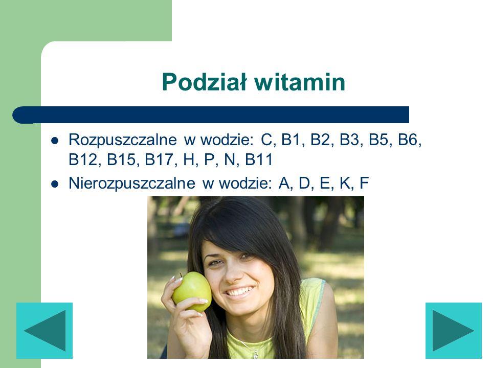 Podział witaminRozpuszczalne w wodzie: C, B1, B2, B3, B5, B6, B12, B15, B17, H, P, N, B11.