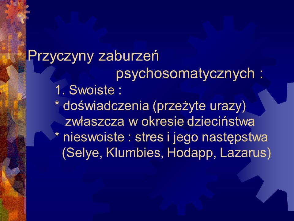 Przyczyny zaburzeń. psychosomatycznych : 1. Swoiste :
