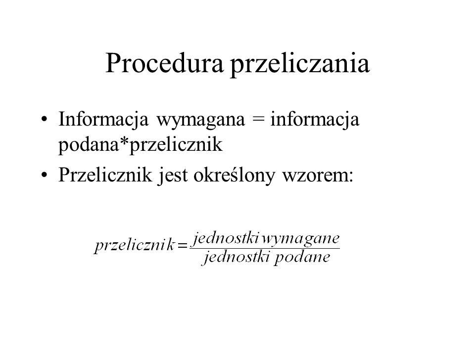 Procedura przeliczania