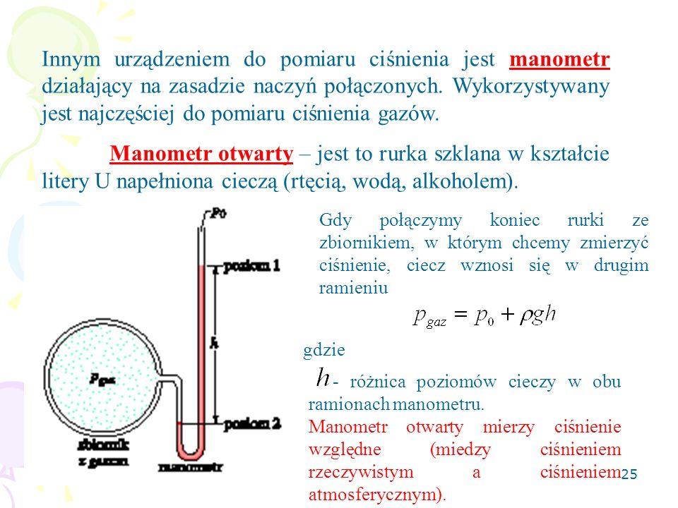 Innym urządzeniem do pomiaru ciśnienia jest manometr działający na zasadzie naczyń połączonych. Wykorzystywany jest najczęściej do pomiaru ciśnienia gazów.