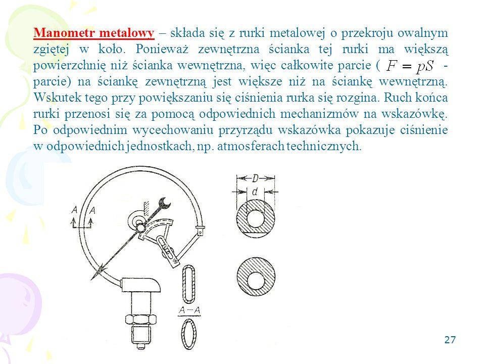 Manometr metalowy – składa się z rurki metalowej o przekroju owalnym zgiętej w koło.