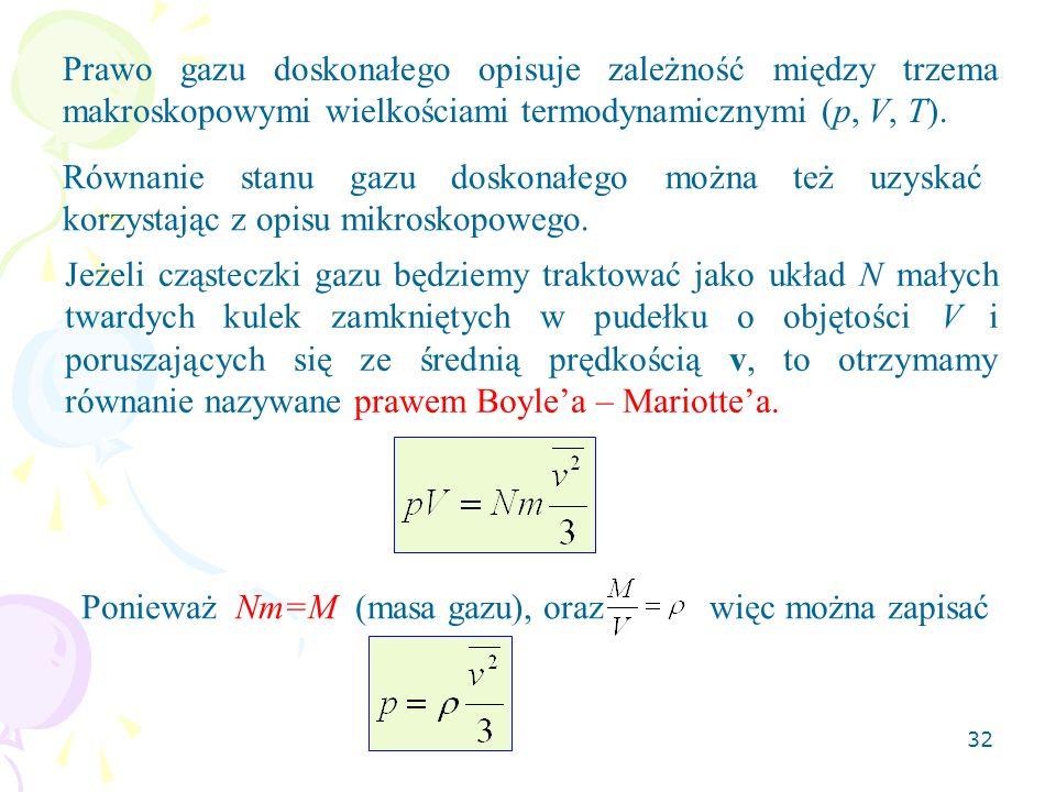 Prawo gazu doskonałego opisuje zależność między trzema makroskopowymi wielkościami termodynamicznymi (p, V, T).