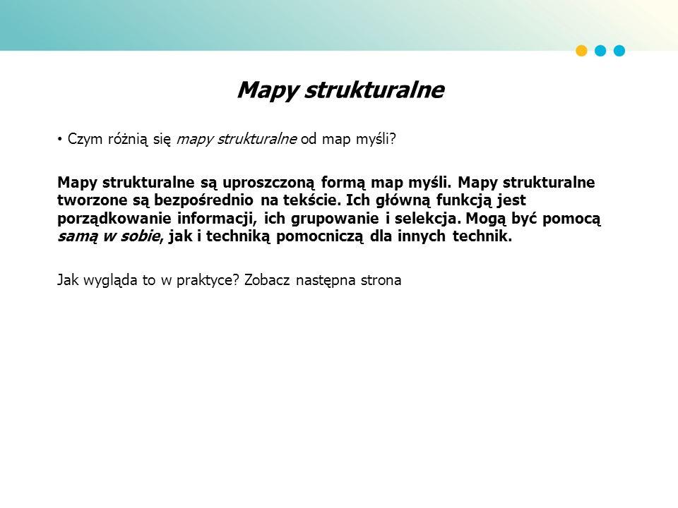 Mapy strukturalne Czym różnią się mapy strukturalne od map myśli