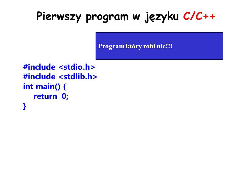 Pierwszy program w języku C/C++
