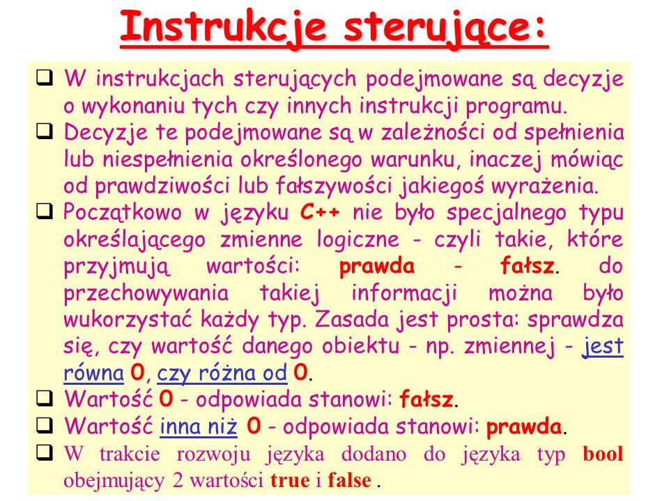 Instrukcje sterujące: