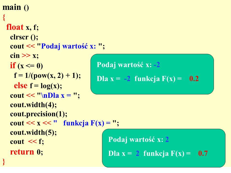 main () { float x, f; clrscr (); cout << Podaj wartość x: ;