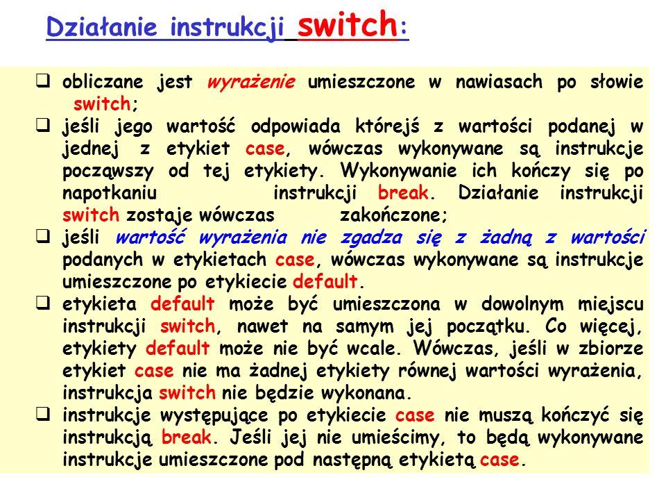 Działanie instrukcji switch:
