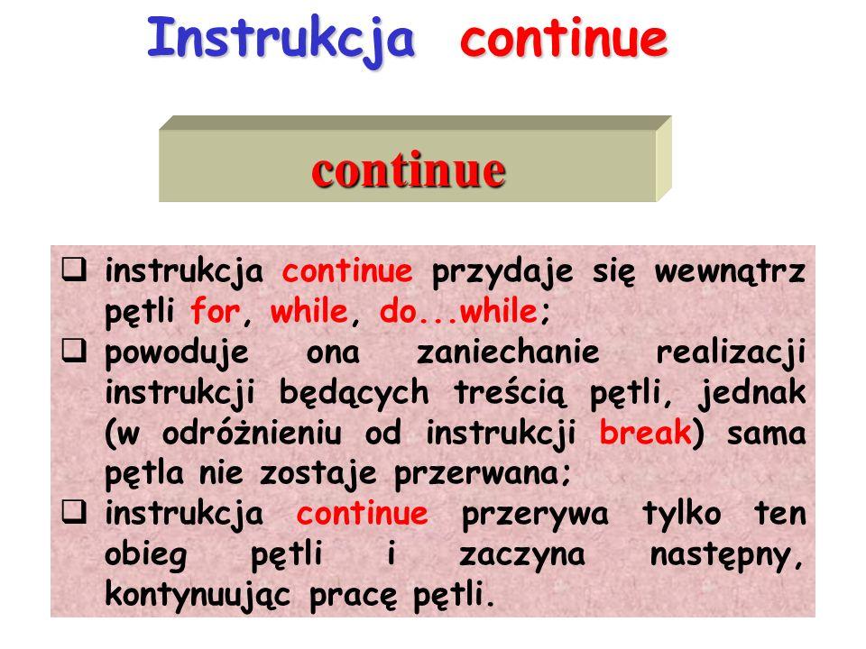 Instrukcja continue continue