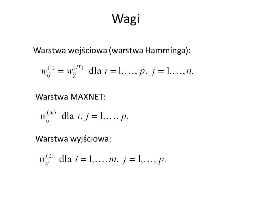 Wagi Warstwa wejściowa (warstwa Hamminga): Warstwa MAXNET: