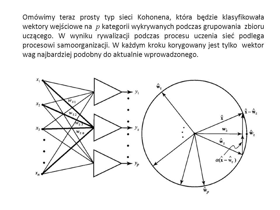 Omówimy teraz prosty typ sieci Kohonena, która będzie klasyfikowała wektory wejściowe na p kategorii wykrywanych podczas grupowania zbioru uczącego.