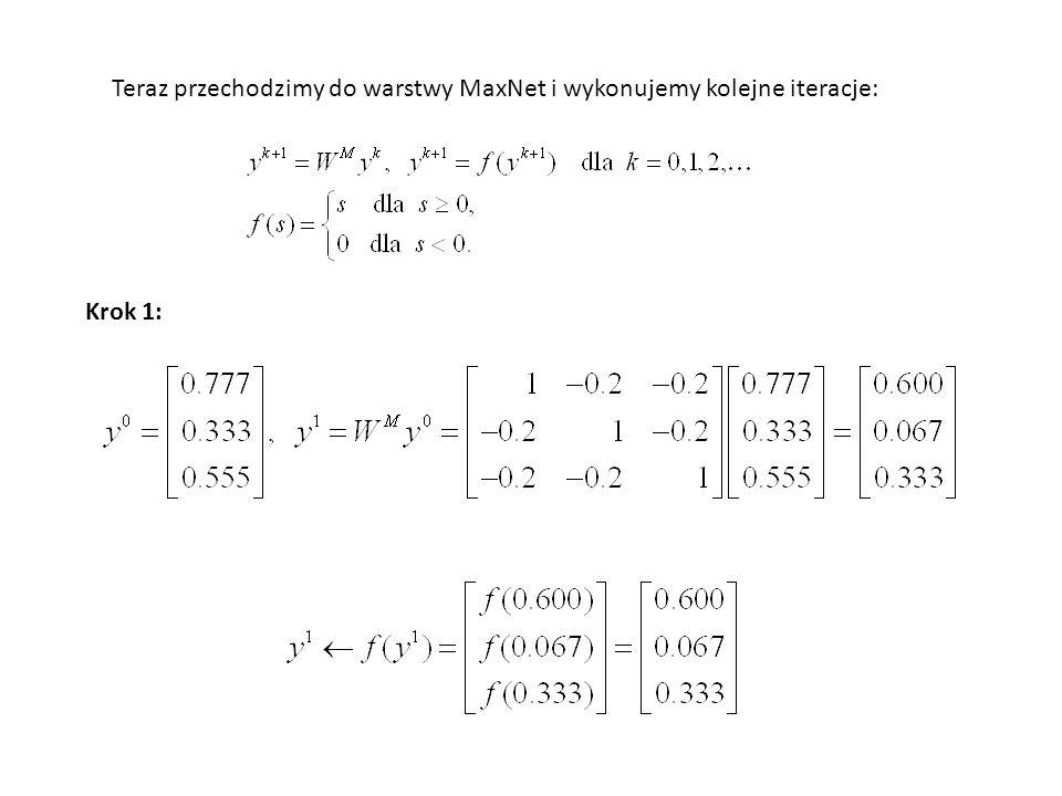 Teraz przechodzimy do warstwy MaxNet i wykonujemy kolejne iteracje:
