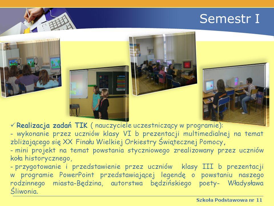 Semestr I Realizacja zadań TIK ( nauczyciele uczestniczący w programie):