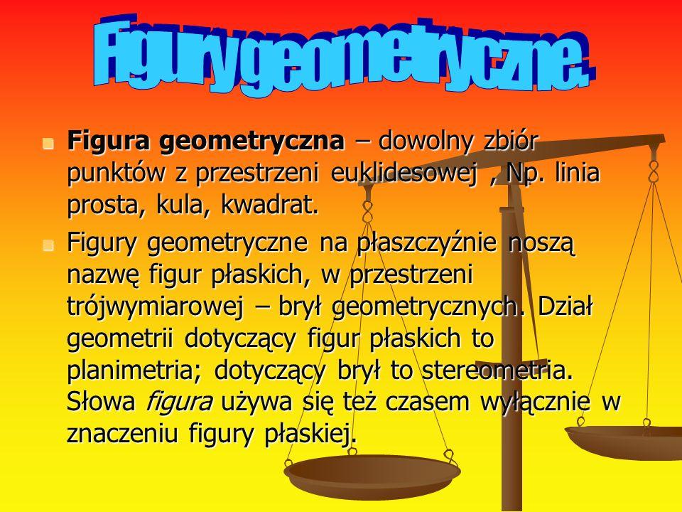 Figury geometryczne. Figura geometryczna – dowolny zbiór punktów z przestrzeni euklidesowej , Np. linia prosta, kula, kwadrat.