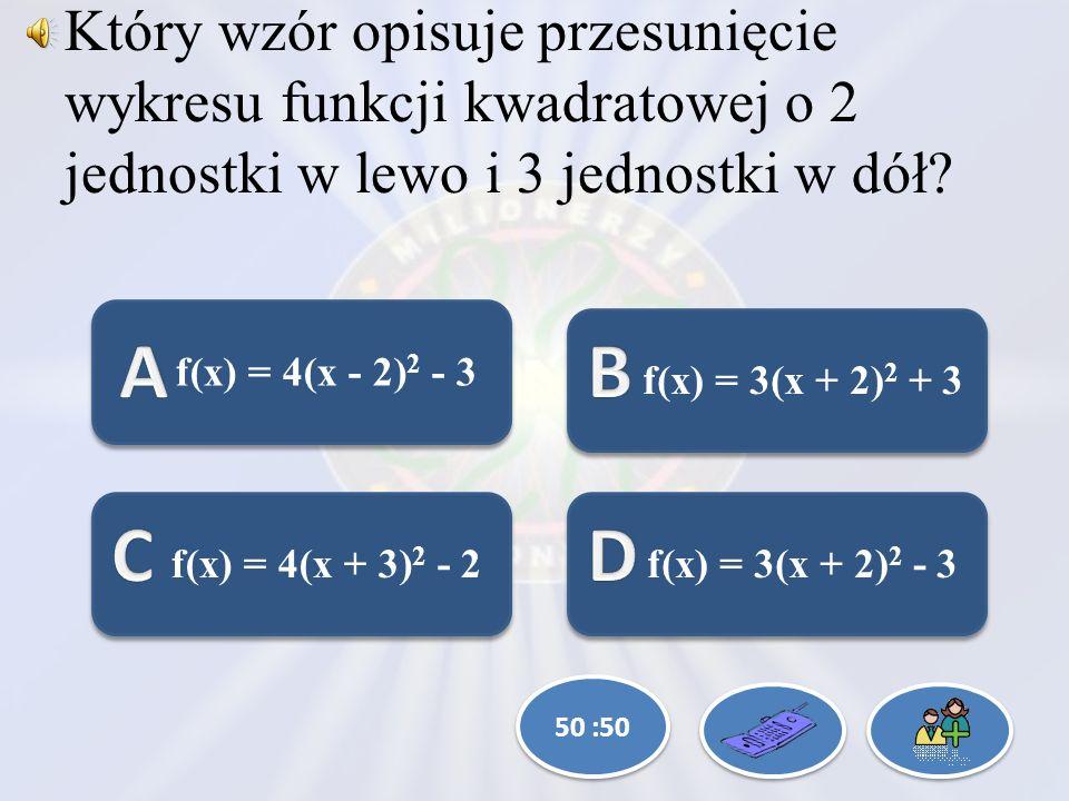 Który wzór opisuje przesunięcie wykresu funkcji kwadratowej o 2 jednostki w lewo i 3 jednostki w dół