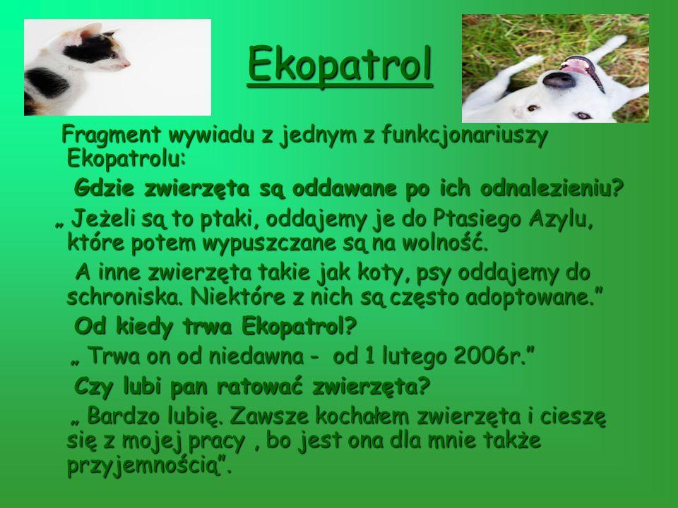 Ekopatrol Fragment wywiadu z jednym z funkcjonariuszy Ekopatrolu: