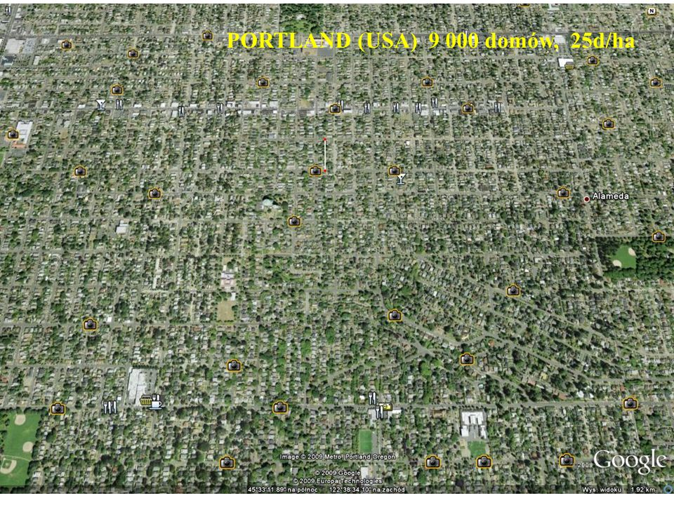 PORTLAND (USA) 9 000 domów, 25d/ha
