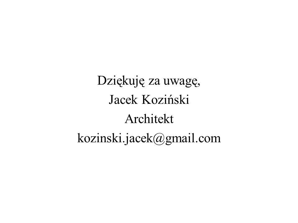Dziękuję za uwagę, Jacek Koziński Architekt kozinski.jacek@gmail.com