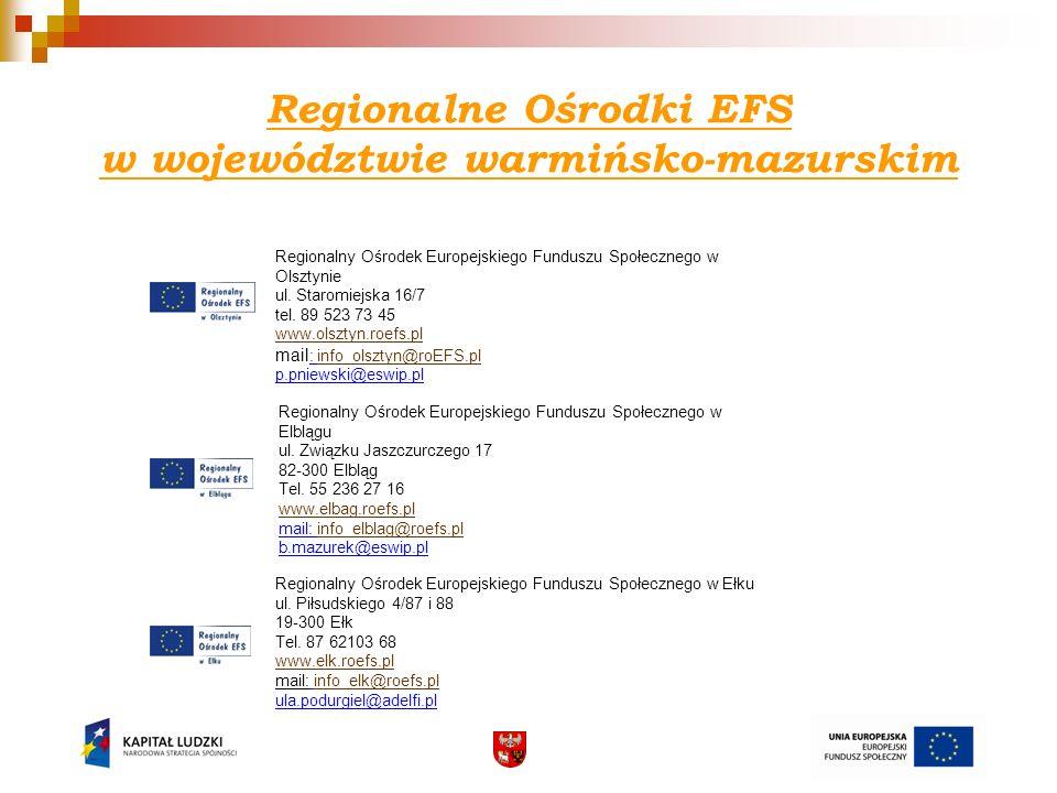 Regionalne Ośrodki EFS w województwie warmińsko-mazurskim