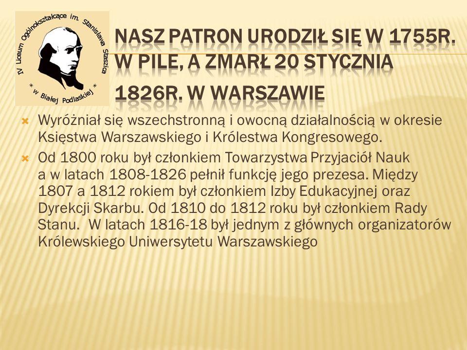 Nasz patron urodził się w 1755r. w Pile, a zmarł 20 Stycznia 1826r
