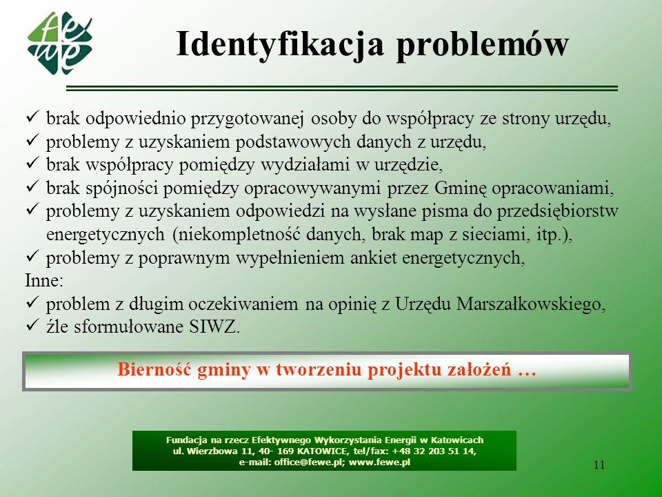 Identyfikacja problemów Bierność gminy w tworzeniu projektu założeń …