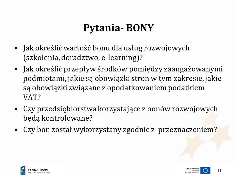 Pytania- BONY Jak określić wartość bonu dla usług rozwojowych (szkolenia, doradztwo, e-learning)