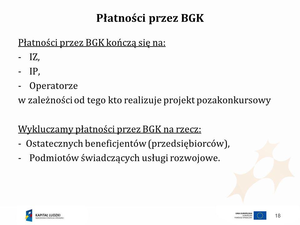 Płatności przez BGK Płatności przez BGK kończą się na: IZ, IP,