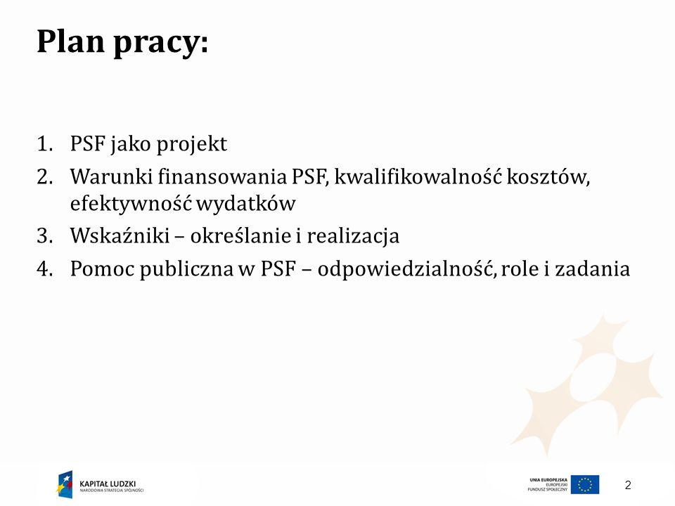 Plan pracy: PSF jako projekt