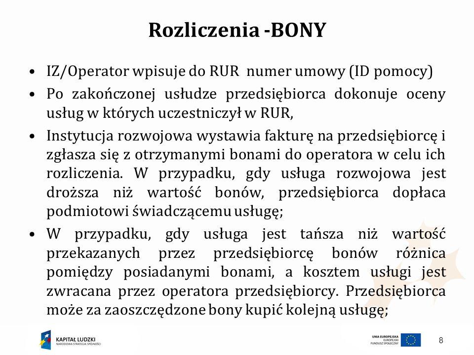 Rozliczenia -BONY IZ/Operator wpisuje do RUR numer umowy (ID pomocy)