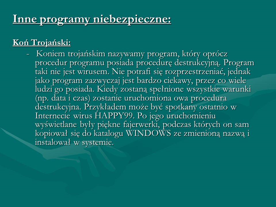 Inne programy niebezpieczne: