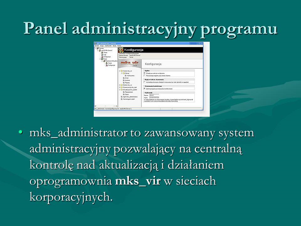 Panel administracyjny programu